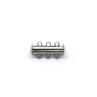 Clasp, Magnetic Slide Multi Strand Tube Clasp, 3 hole, Silver, Alloy, 20mm x 10mm,  Sold Per pkg of 1