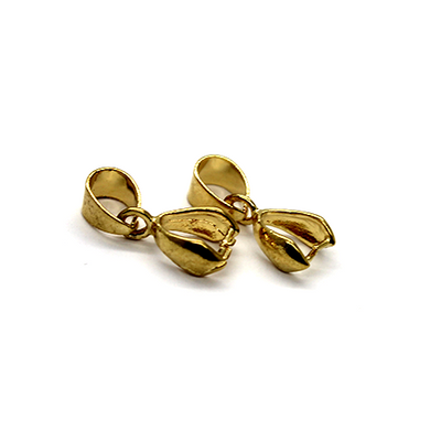 Bails, Pinch Bails, Gold, Alloy, 17mm x 7mm, Sold Per pkg of 3