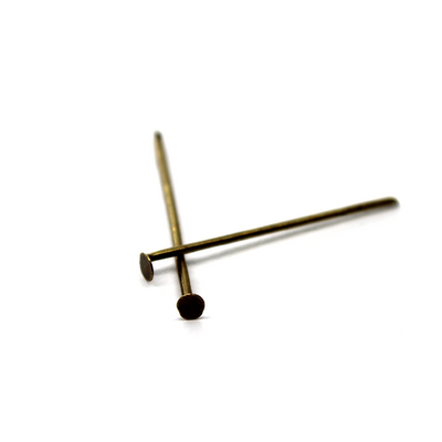 Flat Head Pins, Brass Alloy, 0.79 inch, 21 Gauge