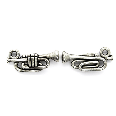 Charms, Classic Trumpet, Silver, Zinc Alloy, 17mm X 8m, Sold Per pkg of 10