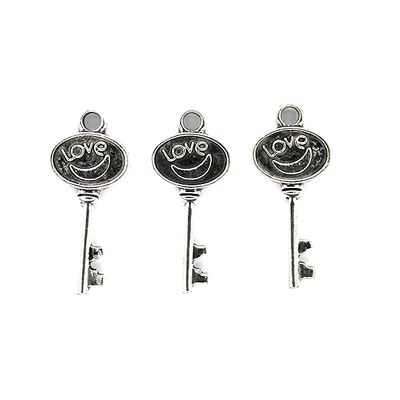 Charms, Key of Love, Silver, Alloy, 12mm X 28mm, Sold Per pkg of 5