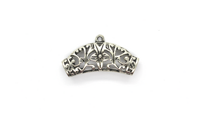 Pendants, Flower Clasp, Silver, Alloy, 21mm x 38mm X 6mm, Sold Per pkg of 1