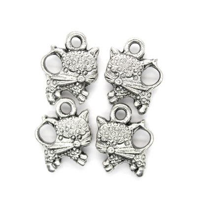 Charms, Cat, Silver, Alloy,17 mm x 13 mm, Sold Per pkg 4