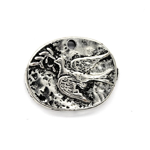 Pendants, Dove of Peace, Silver, Alloy, 19mm X 24mm X 2mm, Sold Per pkg of 2