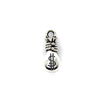 Charms, Knotted Money Bag, Silver, Alloy, 15mm X 7mm X 7mm, Sold Per pkg of 6