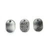 Charms, Made with Love Tag, Silver, Alloy, 11mm X 8mm, Sold Per pkg of 6