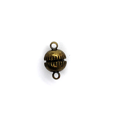 Clasp, Magnetic Sphere Clasp, Bronze, Alloy, 13mm x 7mm, Sold Per pkg of 1