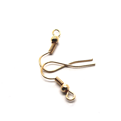 Earrings, Gold, Alloy, Shepherd Hook with Bead and Coil, 19mm x 8mm, sold per pkg of 40