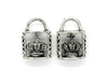 Pendants, Crown Lock, Silver, Alloy, 24mm X 17mm X 8mm, Sold Per pkg of 2