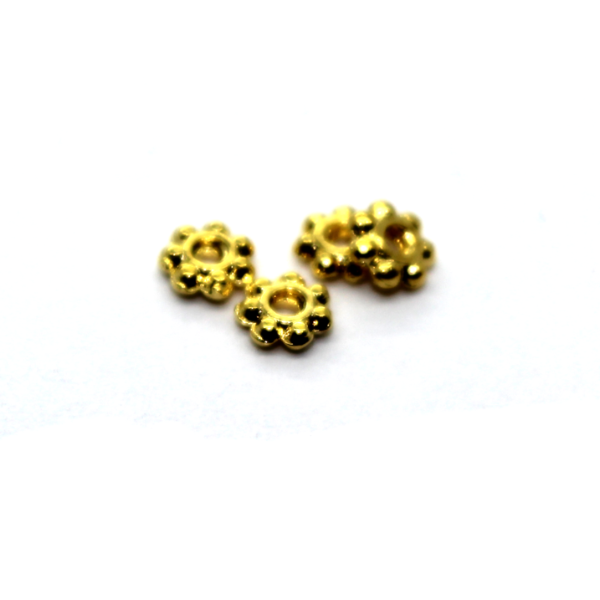 Spacers, Tiny Daisy Spacer, Alloy, Gold, 3.5mm X 3.5mm, Sold Per pkg of 95+