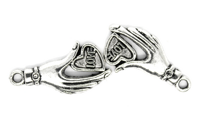 Charms, Hand of Love, Silver, Alloy, 31mm X 16mm, Sold Per pkg of 8