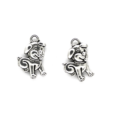 Charms, Cartoon Puppy, Silver, Alloy, 17mm x 11mm, Sold Per pkg 8