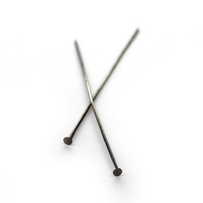 Flat Head Pins, Gunmetal, Alloy, 2.50 inch, 20 Gauge