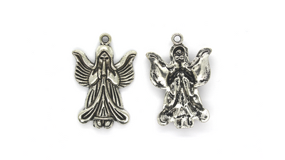 Pendants, Praying Angel, Silver, Alloy, 35mm x 24mm X 4mm, Sold Per pkg of 2