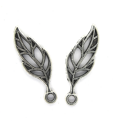 Charms, Cross Venulate Acuminate Leaf, Silver, Alloy, 28mm X 9mm X 2mm, Sold Per pkg of 6