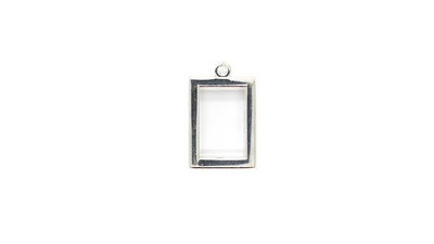 Pendants, Rectangular Frame, Silver, Alloy, 25mm X 21mm X 3mm, Sold Per pkg of 2