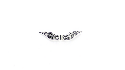 Spacers, Leaf Wings, Silver, Alloy, 32mm X 7mm X 3mm, Sold Per pkg of 6