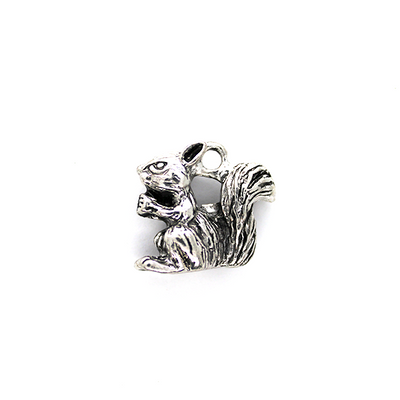 Charms, Chewing Squirrel, Silver, Alloy, 20mm X 21m X 9mm, Sold Per pkg of 2