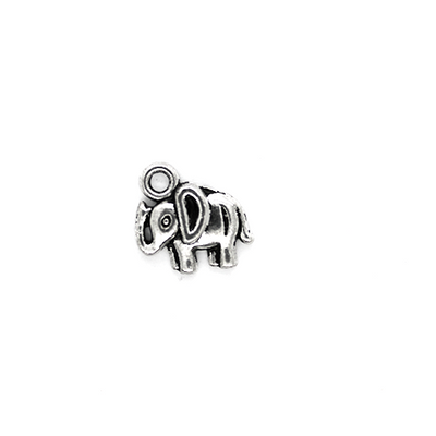 Charms, Up-Horned Elephant, Silver, Alloy, 12mm X 10mm, Sold Per pkg of 10