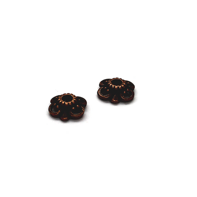 Bead Cap, Gear Head Flower, Alloy, Copper, 3mm x 9mm x 9mm, Sold Per pkg of 10