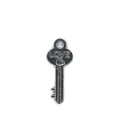 Charms, Love Key, Silver, Alloy, 25mm x 10mm, Sold Per pkg 5