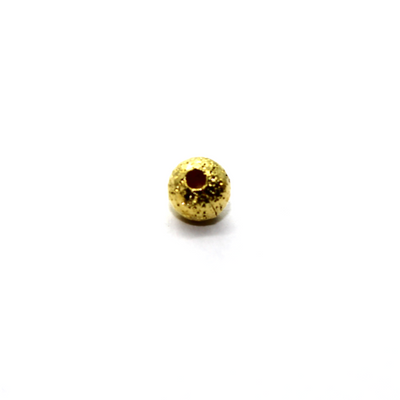 Spacers, Round Stardust Spacer, Alloy, Gold, 3mm X 4mm, Sold Per pkg of 35
