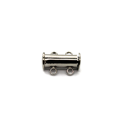 Clasp, Magnetic Slide Multi Strand Tube Clasp, 2 hole, Alloy, Silver, 15mm x 10mm,  Sold Per pkg of 1