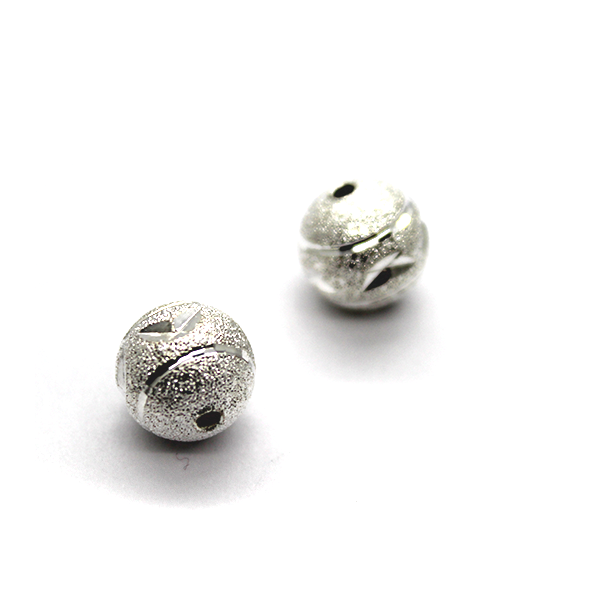 Spacers, Sparkly Silver Leaf Ball, Silver, Alloy, 10mm X 10mm X 10mm, Sold Per pkg of 4