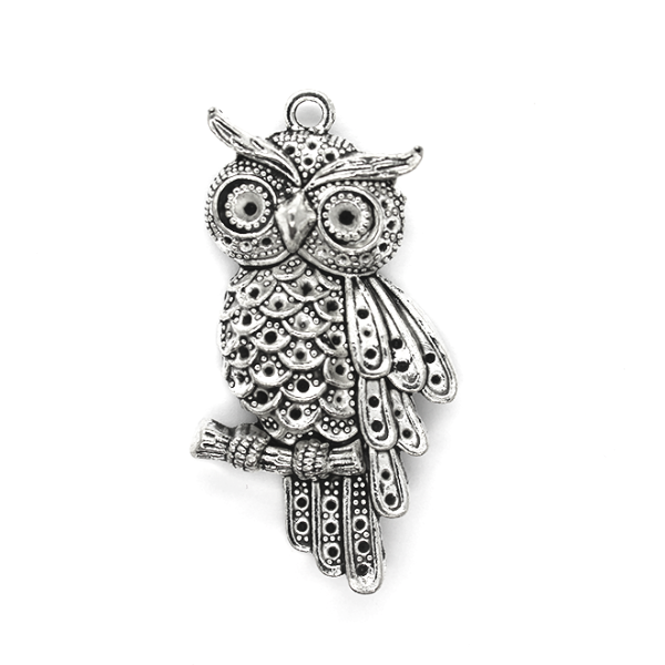 Pendants, Bengal Eagle Owl, Silver, Alloy, 44mm x 20mm, Sold Per pkg of 1