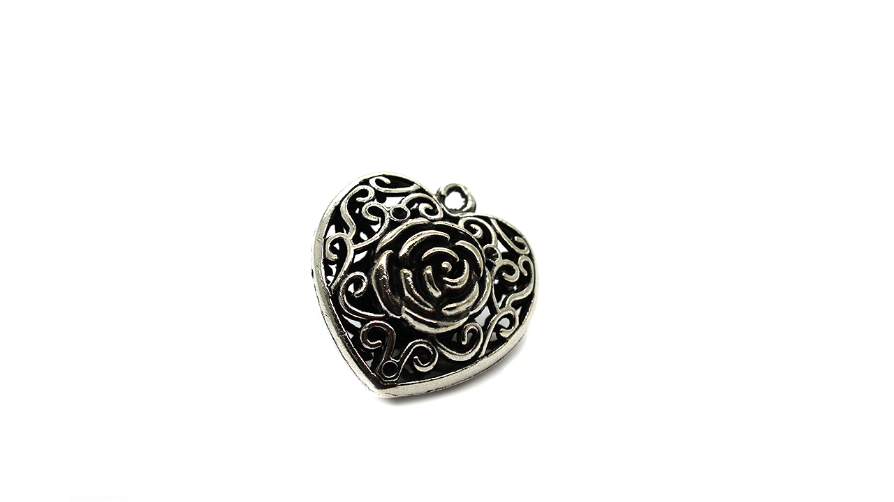 Pendants, Hollow Rose Heart, Silver, Alloy, 35mm X 33mm X 21mm, Sold Per pkg of 1