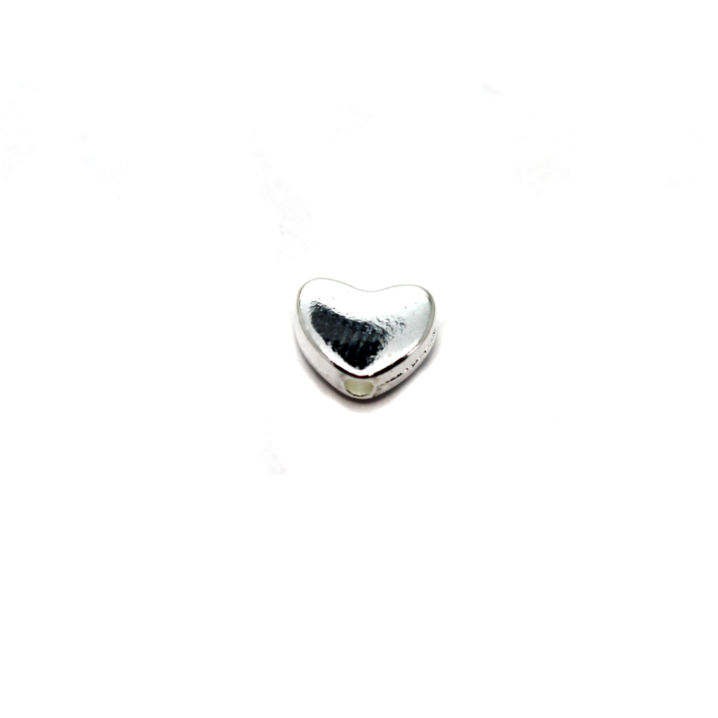Spacers, Heart Spacer Bead, Alloy, Silver, 5mm X 6mm, Sold Per pkg of 12