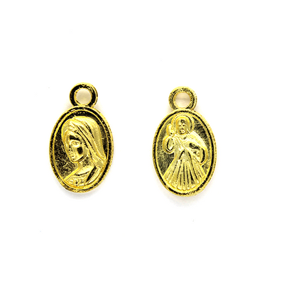 Charms, Engraved Jesus and Mary, Gold, Alloy, 13mm x 8mm, Sold Per pkg 12