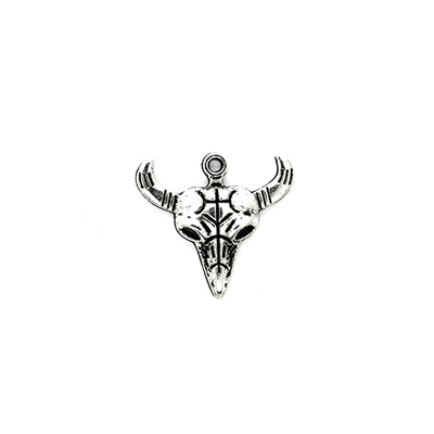 Charms, Ox Head, Silver, Alloy, 28mm X 26mm, Sold Per pkg of 3