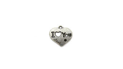 Pendants, I Love You Heart, Silver, Alloy, 20mm X 21mm X 1mm, Sold Per pkg of 5