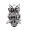 Pendants, Huge Resting Owl, Silver, Alloy, 64mm X 38mm X 3mm, Sold Per pkg of 1
