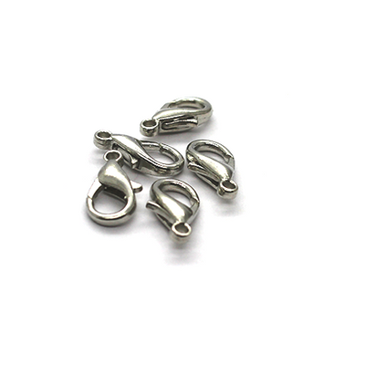 Clasp, Lobster Clasp, Silver, Alloy, 14mm x 7mm x 3mm, Sold Per pkg of 12
