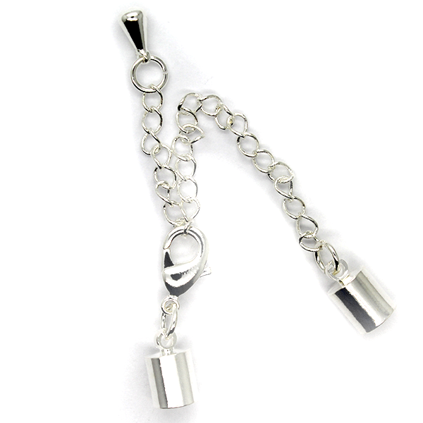 Chains, Chain Extenders, Curb Chain, Antique Silver, Alloy, 61mm (chain) x 12mm (clasp) x 4mm (cap), Sold Per pkg of 1 Set