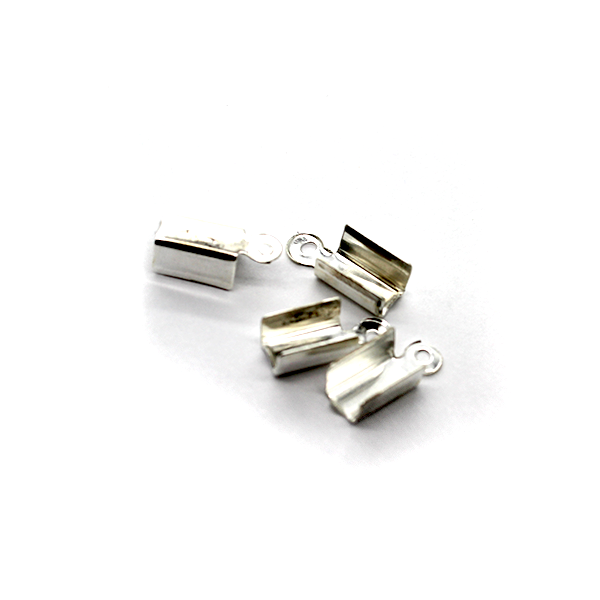 Terminators, Fold Over, Silver, Alloy, 13mm x 9mm x 9mm, Sold Per pkg of 55+