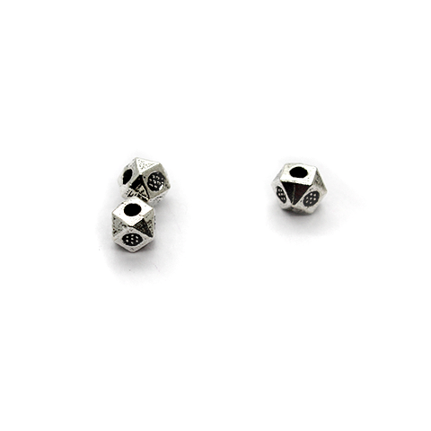 Spacers, Fracted Spacer, Alloy, Silver, 3.5mm X 3.5mm, Sold Per pkg of 25