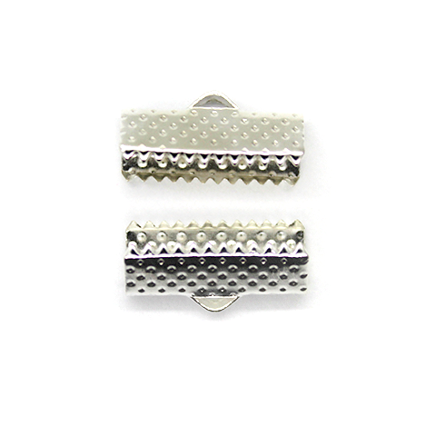 Terminators, Ribbon Crimp End, Silver, Alloy, 16mm x 6mm , Sold Per pkg of 18