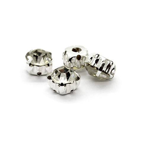 Chaton Montees, SS-35, Alloy. Silver, 7mm x 7mm x 5mm loop, Sold per pkg of 12
