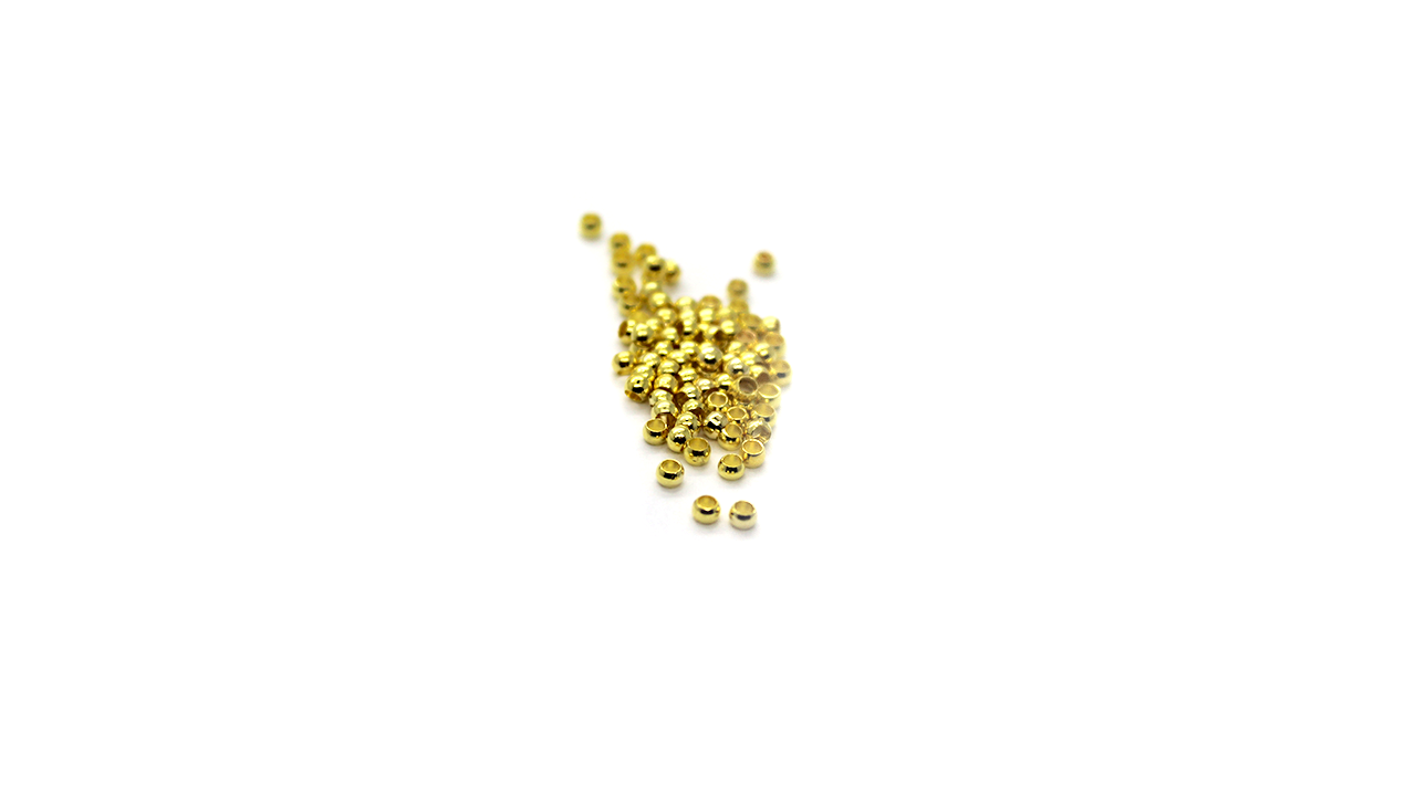 Crimps, Bead, Gold, Alloy, 2mm X 2mm, Sold Per pkg of 100+
