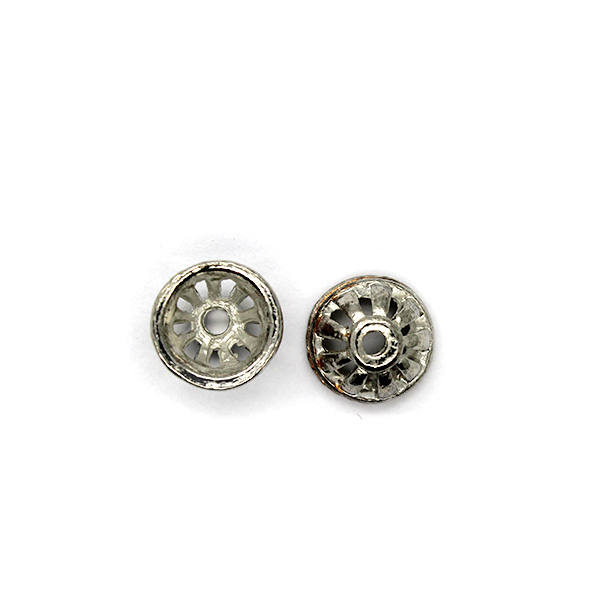 Bead Cap, Cap Wheel, Alloy, Silver, 9mm x 9mm x 5mm, Sold Per pkg of 12