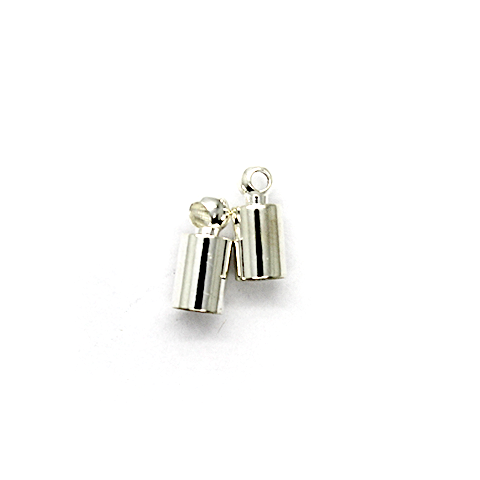 Terminator, Cord Ends, Silver, Alloy, 9mm x 4mm x 4mm, Sold Per pkg of 12
