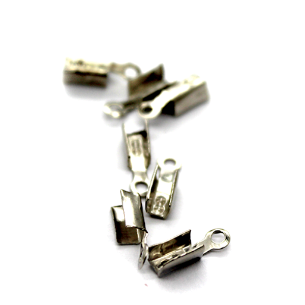 Terminators, Fold Over, Silver, Alloy, 13mm x 9mm x 9mm, Sold Per pkg of 6