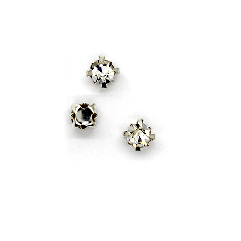 Chaton Montees, SS-16, Alloy. Silver, 4mm x 4mm x 4mm loop, Sold per pkg of 30