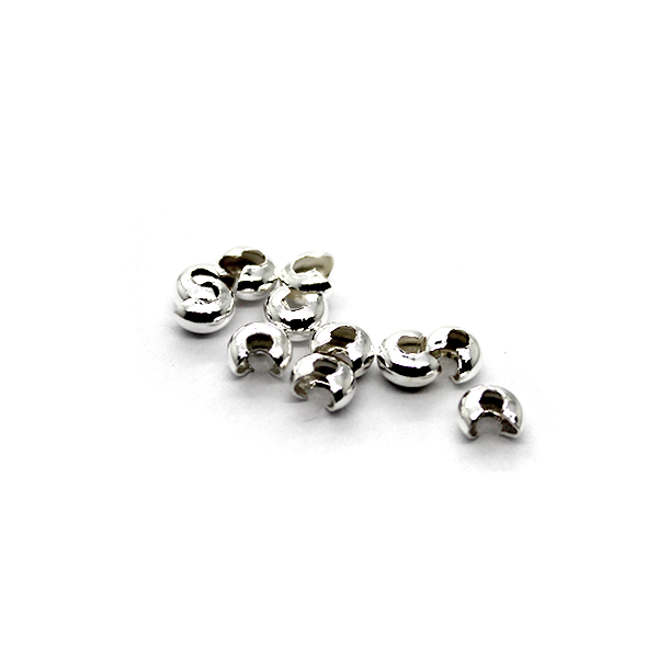 Crimps, Cover, Silver, Alloy, 5mm X 4mm, Sold Per pkg of 20+