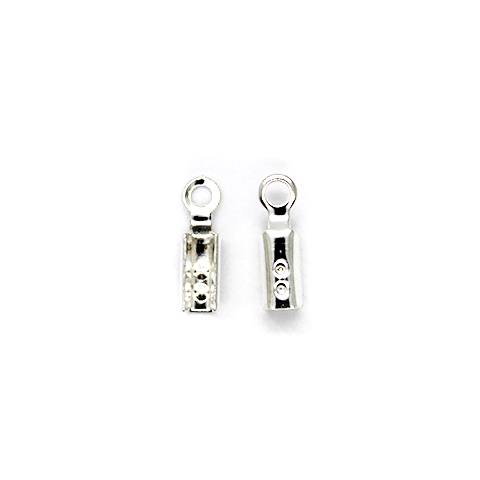 Terminators, Fold Over, Silver, Alloy, 8mm x 3mm, Sold Per pkg of 30+