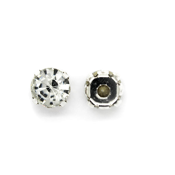 Chaton Montees, SS-40, Alloy. Silver, 8mm x 8mm x 6mm loop, Sold per pkg of 12