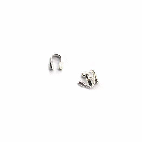 Terminators, Wire Guards, Alloy, Silver, 4mm X 4mm X 1mm, Sold Per pkg of 30